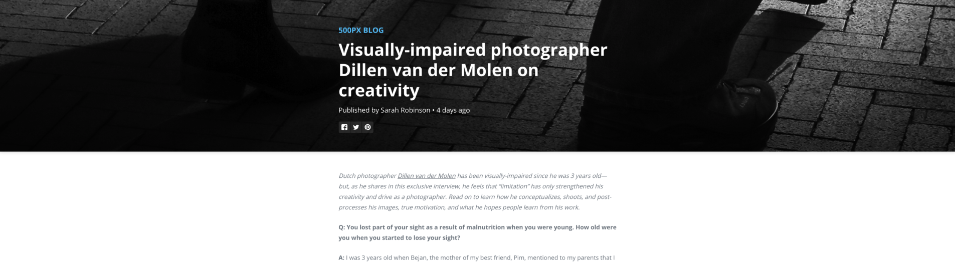 The Q&A @500px || Visually-impaired photographer Dillen van der Molen on creativity ||